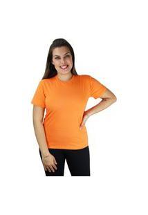 Camiseta Tshirt Feminina Manga Curta Cor Do Verão Laranja
