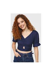 Blusa Cropped Mercatto Amarração Azul-Marinho