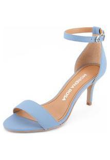 Sandalia Salto Medio Lisa Azul