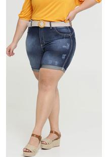 Bermuda Feminina Jeans Cinto Barra Dobrada Plus Size