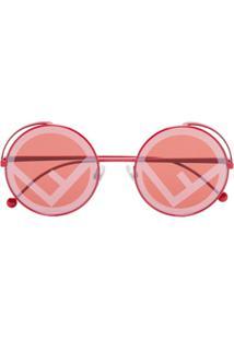 0b7ee2d76 Fendi Eyewear Óculos De Sol Redondo Com Logo Na Lente - Vermelho