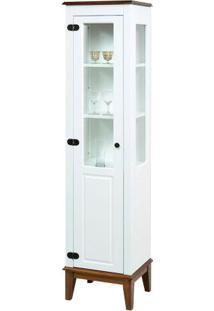 Cristaleira Laura 1 Porta Cor Branco Com Amendoa 180 Cm - 59943 - Sun House
