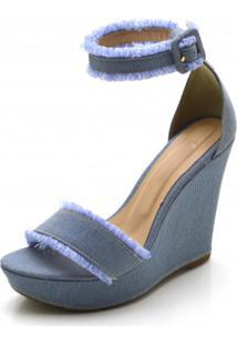 Sandália Anabela Dududias10 Femina Salto Alto Em Tecido Jeans Azul