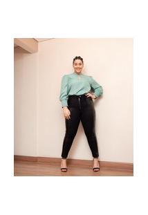 Calça Legging Com Faixa Sintética Na Lateral Curve & Plus Size   Ashua Curve E Plus Size   Preto   Eg