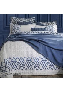 Conjunto De Colcha Matelass㪠De Casal- Branco & Azul Escsultan