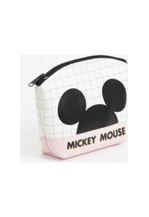 Necessaire Feminina Quadriculada Mickey Disney