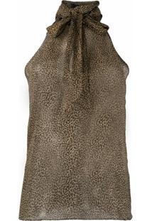 Nili Lotan Blusa Frente Única Com Estampa De Leopardo - Neutro