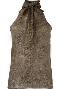Nili Lotan Micro-Leopard Print Halterneck Blouse - Neutro