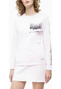 Blusa Ckj Fem Ml Andy Warhol Landscape - Rosa Claro - P
