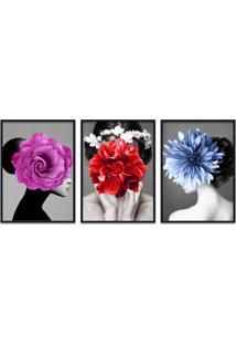 Quadro 60X120Cm Eyra Mulher Com Flores Moldura Preta Com Vidro