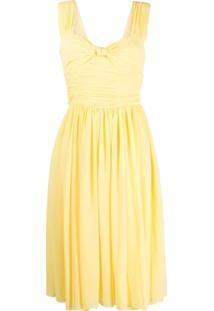 Polo Ralph Lauren Vestido Midi Com Laço Frontal - Amarelo