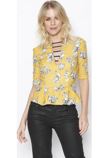 Blusa Peplum Com Tiras - Amarelo Escuro & Off White Sommer
