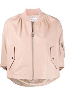 Red Valentino Cropped Ruffle Bomber Jacket - Neutro