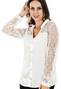 Camisa Cia De Moda Cetim Renda Tatoo Off White