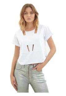 Camiseta Rosa Chá Matilda Malha Branco Feminina Camiseta Matilda-Branco-M