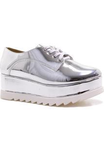 Sapato Oxford Zariff Shoes Flatform Metalizado Prata