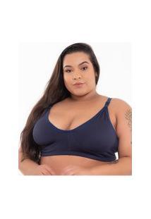 Sutiã Click Chique Básico Plus Size Conforto Azul