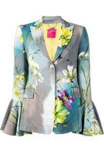 Blumarine Floral Print Blazer - Cinza