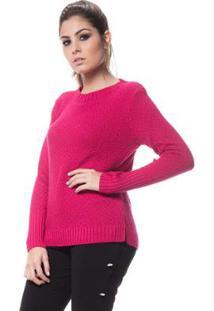 Blusa Logan Tricot Ponto Arroz Punho Alongado - Feminino-Rosa Escuro