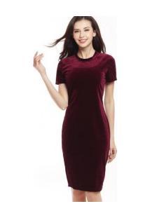 Vestido Marsala Vinho Veludo Molhado