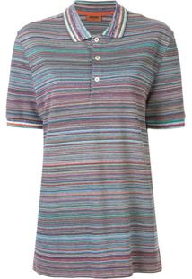 Missoni Camisa Polo De Algodão Com Listras - Roxo