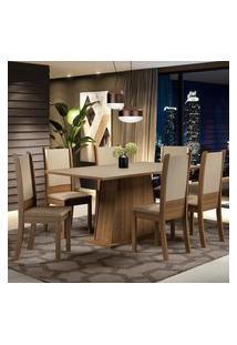 Conjunto Sala De Jantar Madesa Adriana Mesa Tampo De Madeira Com 6 Cadeiras Marrom
