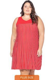 Vestido Feminino Listrado Vermelho