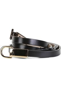 Cinto Couro Shoestock Ajustável Feminino - Feminino-Preto