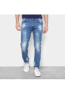 Calça Jeans Skinny Watkins&Krown Destroyed Masculina - Masculino