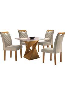 Sala De Jantar Canion Com 4 Cadeiras Linho Bege