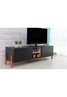 Rack Para Tv Preto Moderno Vintage Retrô Com 2 Portas Preto Eric - 166X43,6X48,5 Cm