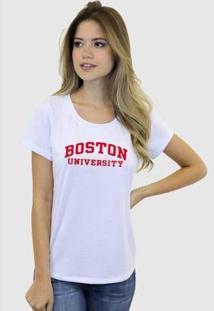 Camiseta Suffix Blusa Estampa Boston University Basica Gola Redonda Feminina - Feminino-Branco