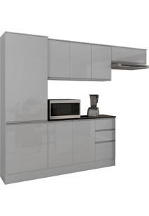 Cozinha Compacta Com 9 Portas E 2 Gavetas Paris Plus-Poliman - Branco