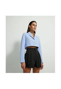 Blazer Cropped Alfaiataria Com Botão Frontal | Just Be | Azul | P