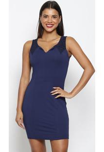 Vestido Com Renda- Azul Marinho- Maclumaclu