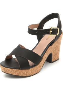 Sandália Dafiti Shoes Detalhe Salto Preta