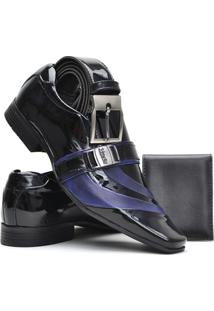 Sapato Social Masculino Venetto Verniz - Masculino-Preto+Azul