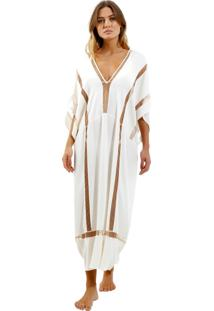 Vestido Rosa Chá Illusion Beachwear Seda Off White Feminino (Off White, Pp)