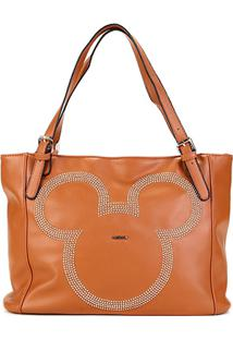 Bolsa Sacola Gash Shopper Aplique Rebites Mickey Feminina - Feminino-Caramelo