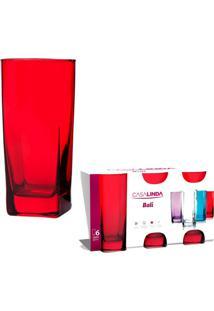 Conjunto Com 6 Copos Bali De Vidro Vermelho 350 Ml