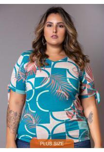 Blusa Amarração Folhagem Plus Size Azul
