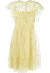 Redvalentino Vestido Point D'Esprit Com Babados - Amarelo