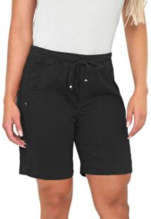Bermuda Jogger Bloom Color Em Sarja De Moletom Preto - Kanui