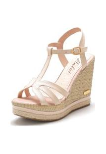 Sandália Sb Shoes Anabela Ref.3230 Amêndoa
