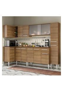 Cozinha Completa De Canto Madesa Emilly Space Com Armário Vidro, Balcáo E Paneleiro Marrom