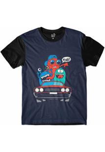 Camiseta Long Beach Lb Lowrider Sublimada Masculina - Masculino-Marinho+Preto
