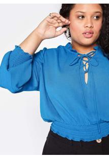 Blusa Almaria Plus Size Tal Qual Cropped Lace Up A