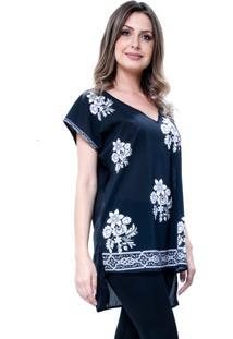 Blusa 101 Resort Wear Tunica Decote V Fendas Preto Floral