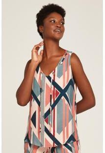 Blusa Rubinella Geo Stripes Ilhoses Única Feminina - Feminino-Azul+Rosa
