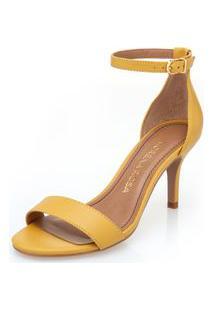 Sandalia Salto Medio Lisa Amarelo